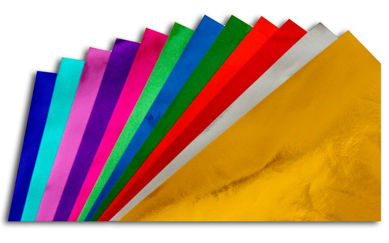 Foil paper 35x35 cm - 12 colors - 24 sheets