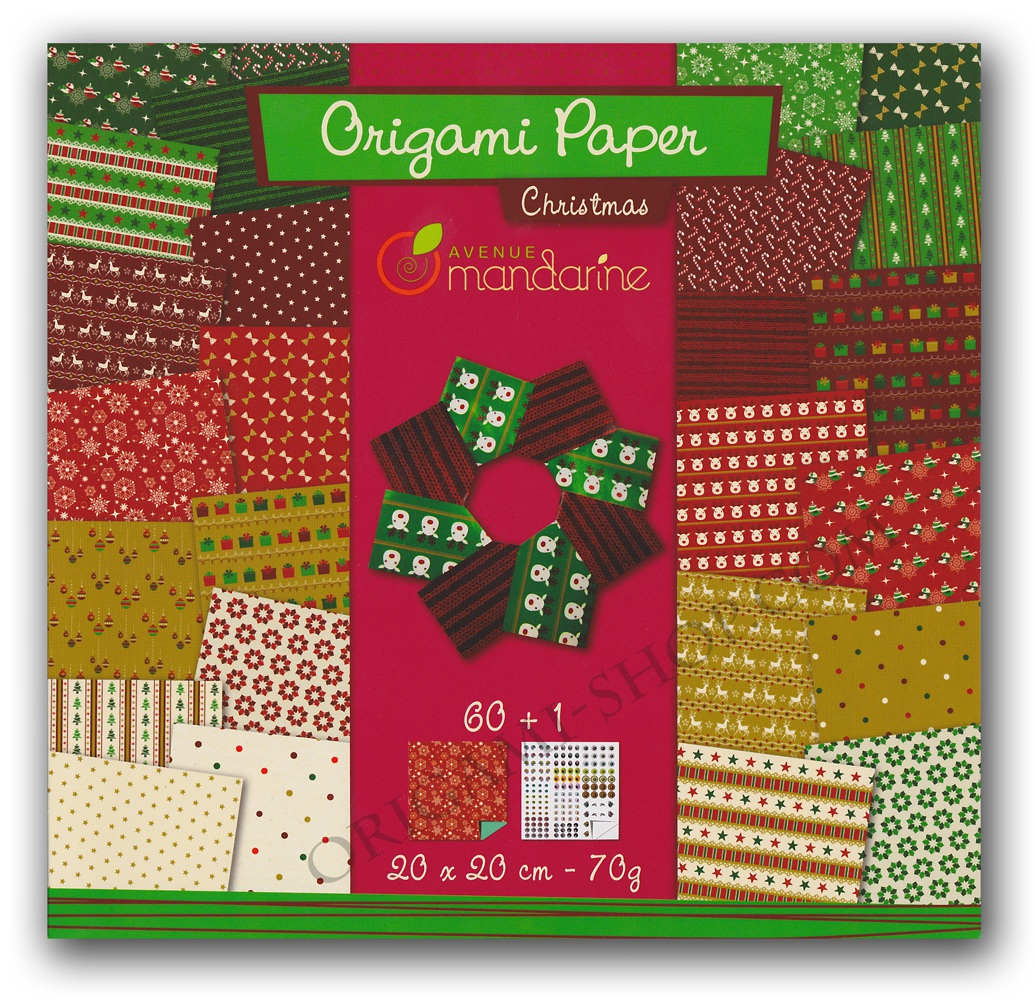 papiers origami christmas 60 pages 20x20cm