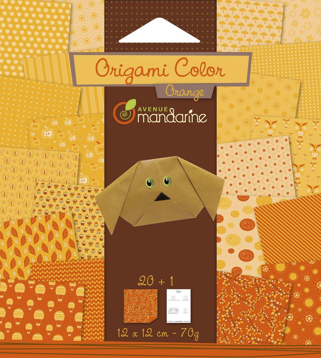 papier origami color orange 12x12cm