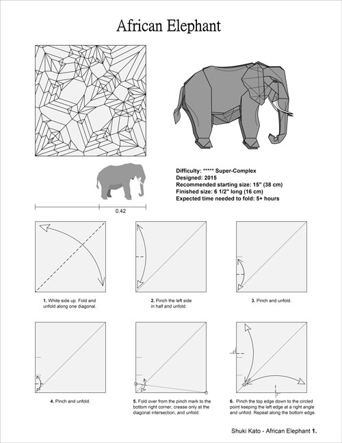 origami project  1  elephant by shuki kato   elephant hide
