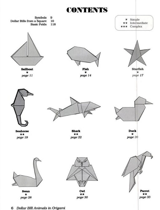 Origami dollar animals