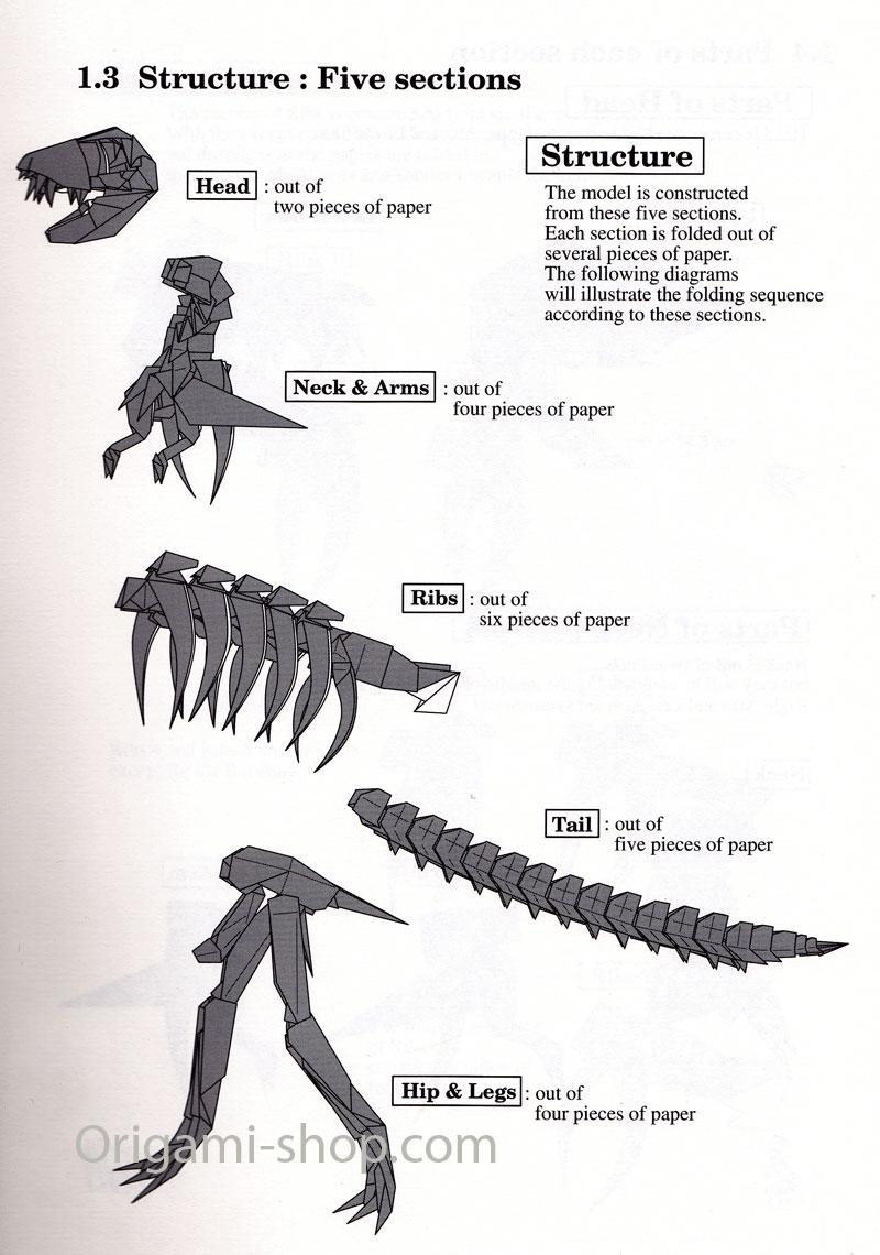 book origami skeleton trex yoshino