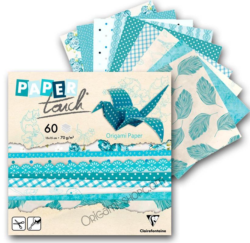 papier origami paper touch 60 feuilles motifs 15x15 cm. Black Bedroom Furniture Sets. Home Design Ideas