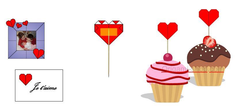 Exemples d'utilisation de votre coeur origami pour un marriage, le jour de la saint valentin ou de la déco DIY